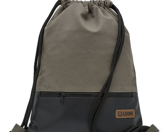 LEON by Bers bag gym bag backpack sports bag cotton gymbag ca.34 cm x about 45 cm zip pocket, Canvas Gray PU bottom SW