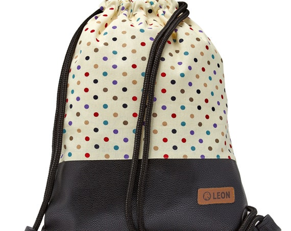 LEON by Bers bag gym bag backpack sports bag cotton gym bag width approx.34 cm height approx.45 cm, colorful dots - black bottom