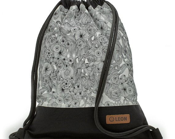 LEON by Bers Women's Bag Men's Gym Bag Backpack Sports Bag Cotton gymbag Width approx.34 cm Height approx.45 cm, black and white morning glory