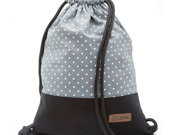 LEON by Bers Women's Bag Men's Gym Bag Backpack Sports Bag Cotton gym bag Width approx.34 cm Height approx.45 cm, White dots on grey