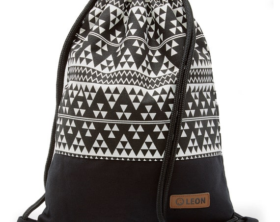 LEON by Bers bag gym bag backpack sports bag cotton gym bag width approx.34 cm height 45 cm small SW triangles pattern, black bottom
