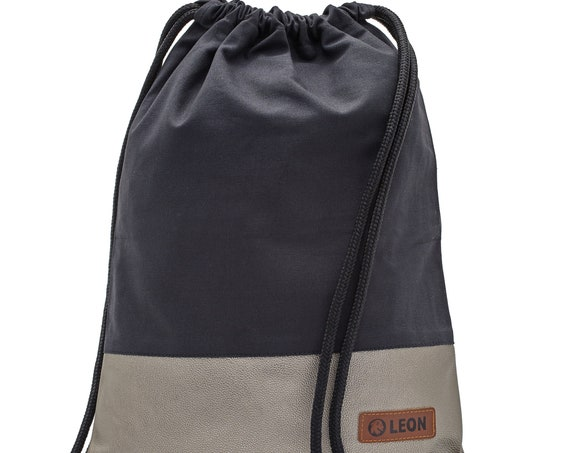 LEON by Bers bag unisex gym bag backpack sports bag cotton gymbag width approx.34 cm height x45cm black fabric, light gold faux leather