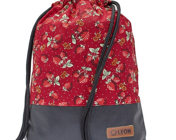 LEON by Bers bag gym bag backpack sports bag cotton gym bag width approx.34 cm height approx.45 cm, strawberry design - black bottom