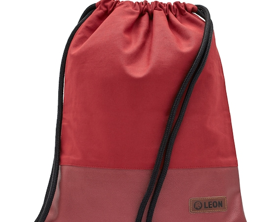 LEON by Bers women's bag gym bag backpack sports bag cotton gymbag width 34 cm height 45 cm Red canvas bottom PU red metallic