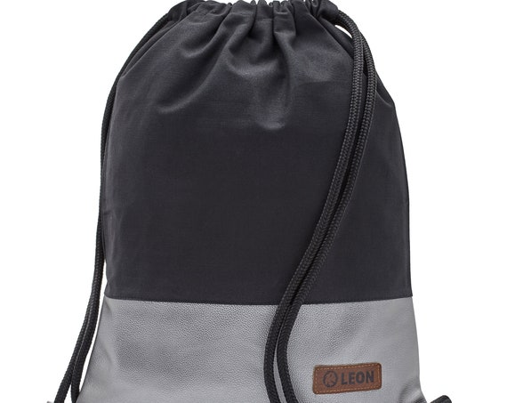 LEON by Bers Bag Unisex Gym Bag Backpack Sports bag Cotton gymbag Width approx.34 cm Height x 45 cm. Black fabric, silver artificial leather