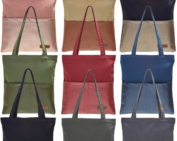 LEON sturdy beautiful shopping bag bucket bag cloth bag shopper tote bag cotton vegan faux leather inner bag outer bag in 9 colors