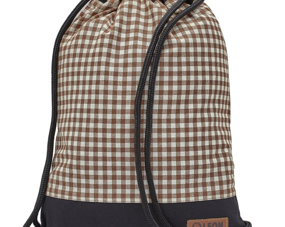 LEON by Bers bag women's gym bag backpack sports bag cotton gym bag width approx.34 cm height approx.45 cm, brown plaid fabric