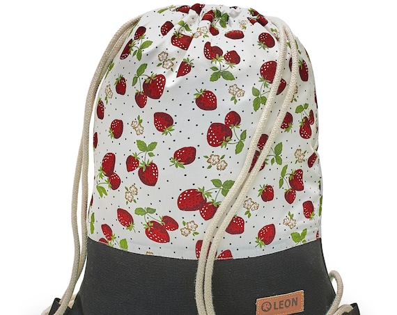 LEON by Bers bag gym bag backpack sports bag kids cotton gym bag width 32 cm height 41 cm, strawberry on white, black. Fabricfloor