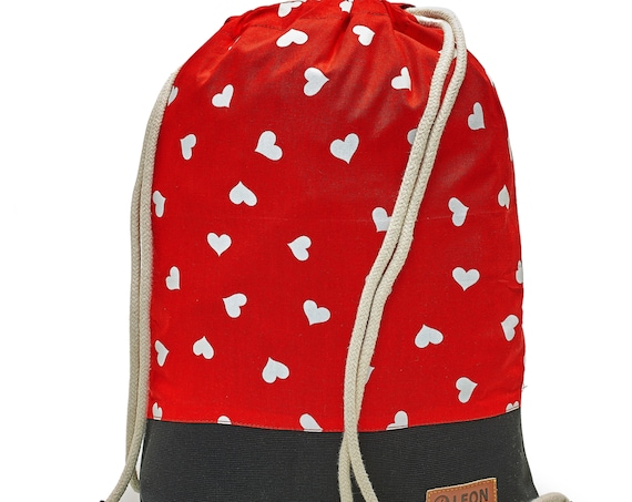 LEON by Bers bag gym bag backpack sports bag kids cotton gym bag width 32 cm height 41 cm, hearts on red, black. Fabricfloor