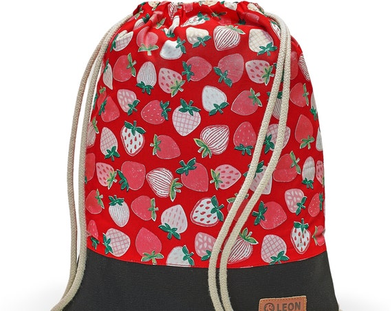 LEON by Bers bag gym bag backpack sports bag kids cotton gym bag width 32 cm height 41 cm, strawberry on red, black. Fabricfloor
