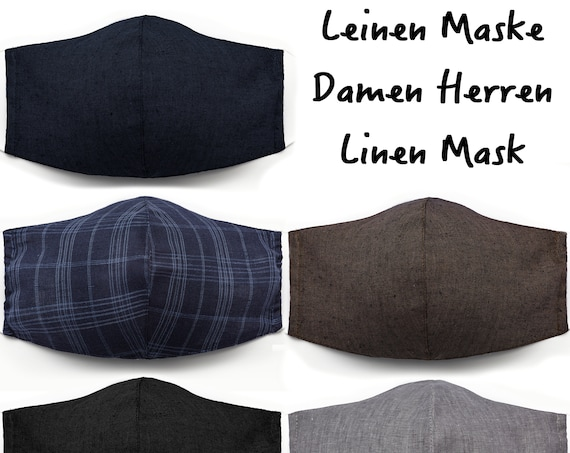 BUY 1 TAKE 2 !! Leon Linen Everyday Mask Women's Men's Mouth-Nose Mask Mouthguard 3 Layers Washable Face Mask Made Linen Fabric