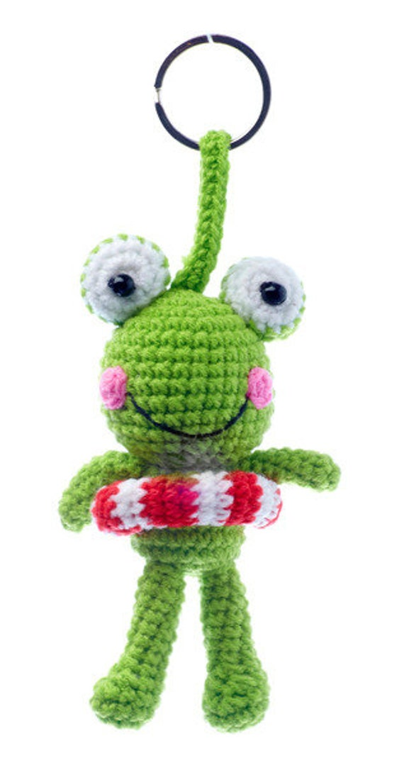 Crochet frog with lifebuoy keychain