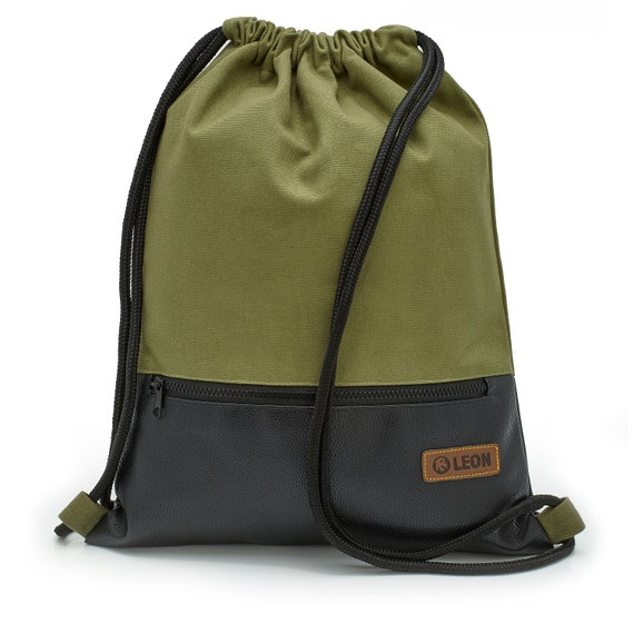 LEON by Bers Bag Gym bag Backpack Sports bag Cotton gym bag Width approx.34 cm Height approx.45 cm, outer zippered pocket