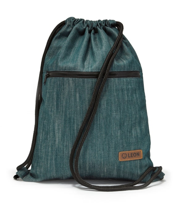 LEON by Bers bag gym bag backpack sports bag cotton gym bag width approx.34 cm height approx.45 cm, outside zipper, denim teal