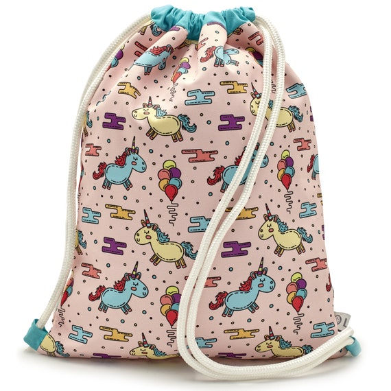 LEON by Bers nursery bag gym bag backpack kids sports bag cotton gym bag fabric bag design Kind_einhorn_pink