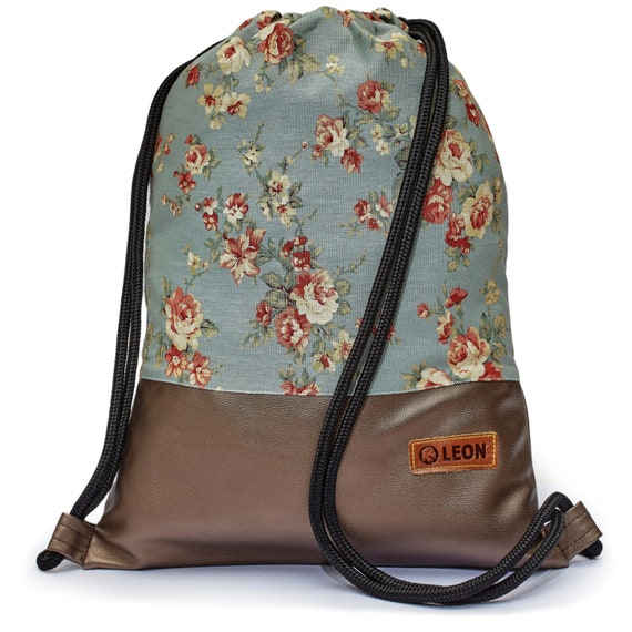LEON by Bers bag women's gym bag backpack sports bag cotton gym bag width approx.34 cm height approx.45 cm , design roses on blue