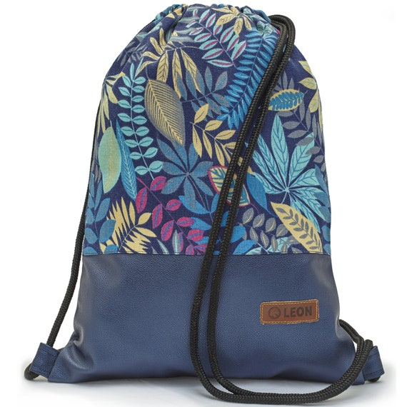 LEON by Bers bag gym bag backpack sports bag cotton gym bag width 34 cm height 45 cm, fabric ferns blue, blue faux leather floor