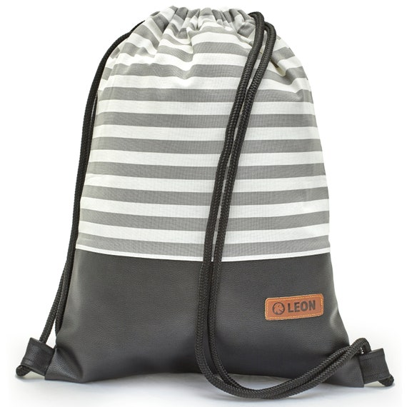 LEON by Bers bag gym bag backpack sports bag cotton gym bag width approx.34 x45 cm, grey/white stripes, black faux leather floor