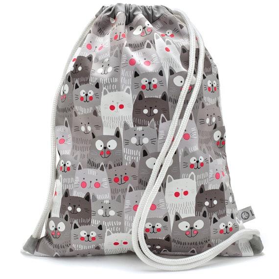 LEON by Bers nursery bag gym bag backpack kids sports bag cotton gym bag fabric bag, design child cat grey