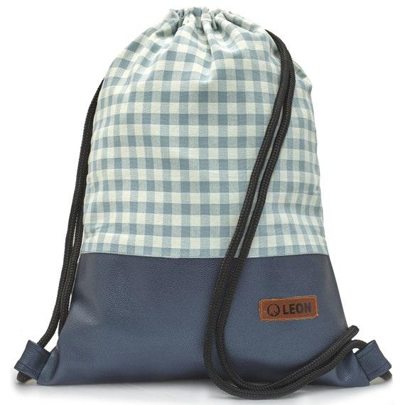 LEON by Bers bag men's gym bag backpack sports bag cotton gym bag width approx.34 cm height approx.45 cm, design light blue plaid