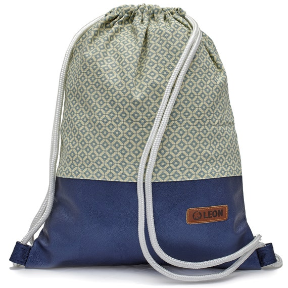LEON by Bers bag unisex gym bag backpack sports bag cotton gymbag width approx.34 cm height approx.45 cm. Plaid blue fabric, faux leather blue
