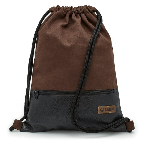 LEON by Bers Bag Men's Gym Bag Backpack Sports Bag Cotton gym bag Width approx.34 cm Height approx.45 cm, outside Zippered pocket