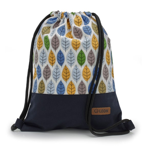 LEON by Bers Bag Gym Bag Backpack Sports Bag Cotton gym bag Width approx.34 cm Height approx.45 cm , Design Colourful Leaves