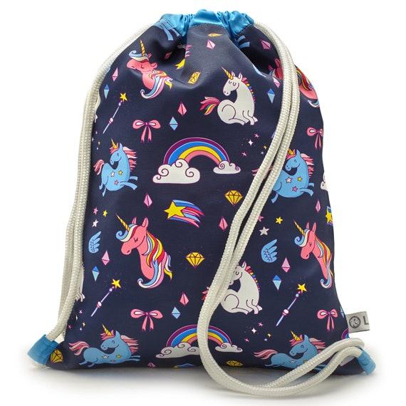 LEON by Bers nursery bag gym bag backpack kids sports bag cotton gym bag fabric bag, design Kind_einhorn_blau