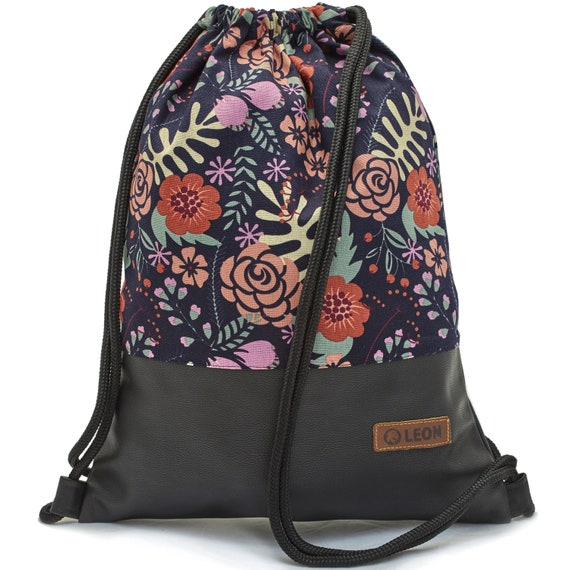 LEON by Bers bag gym bag backpack sports bag cotton gym bag width 34 cm height 45 cm, fabric ferns colorful, black faux leather bottom