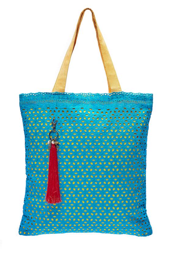 LEONs Beautiful bag tote bag tote bag Shopper Tote Bag cotton zipper inner pockets Velour Henkel Turquoise