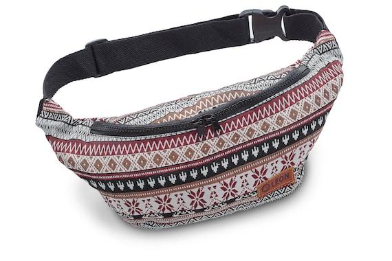 Leon Belt Bag Belly Bag Hip Bag 100% Cotton Fanny pack Hip Bag Shoulder Bag Bumbag RedBrownSWKaro Design