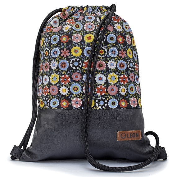 LEON by Bers bag gym bag backpack sports bag cotton gym bag width approx.34 cm height approx.45 cm,