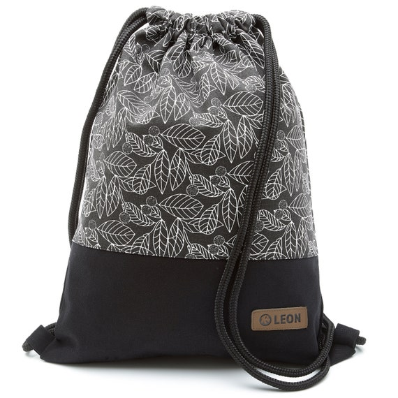 LEON by Bers bag gym bag backpack sports bag cotton gym bag width approx.34 cm height approx.45 cm, design white leaves black fabric