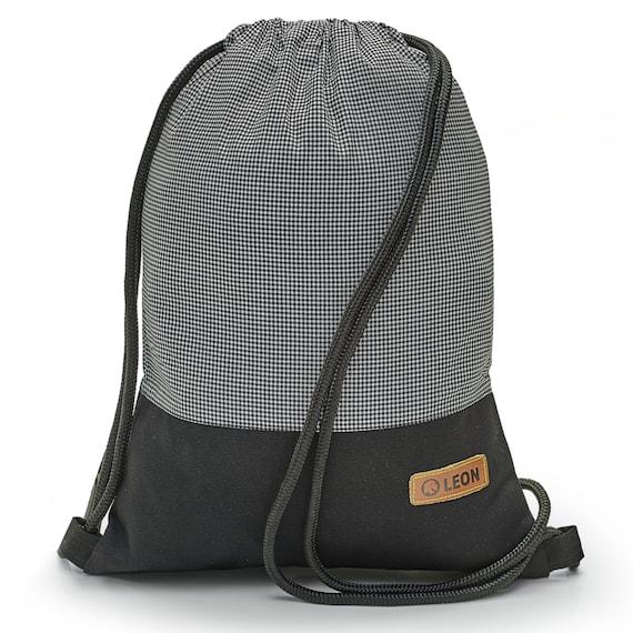 LEON by Bers bag gym bag backpack sports bag cotton gym bag width 34 cm height 45 cm, grid SW, black. Fabricfloor