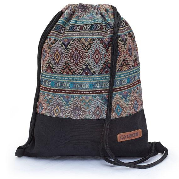 LEON by Bers Bag Gym Bag Backpack Sports Bag Cotton gym bag BOHOturkisbordauxBlack