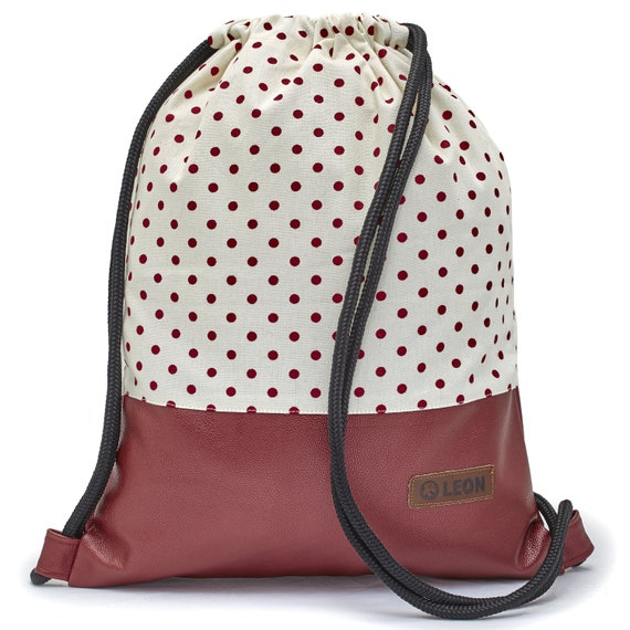 LEON by Bers bag gym bag backpack women sports bag cotton gymbag width approx.34 cm height approx.45 cm, red dots on beige, red bottom