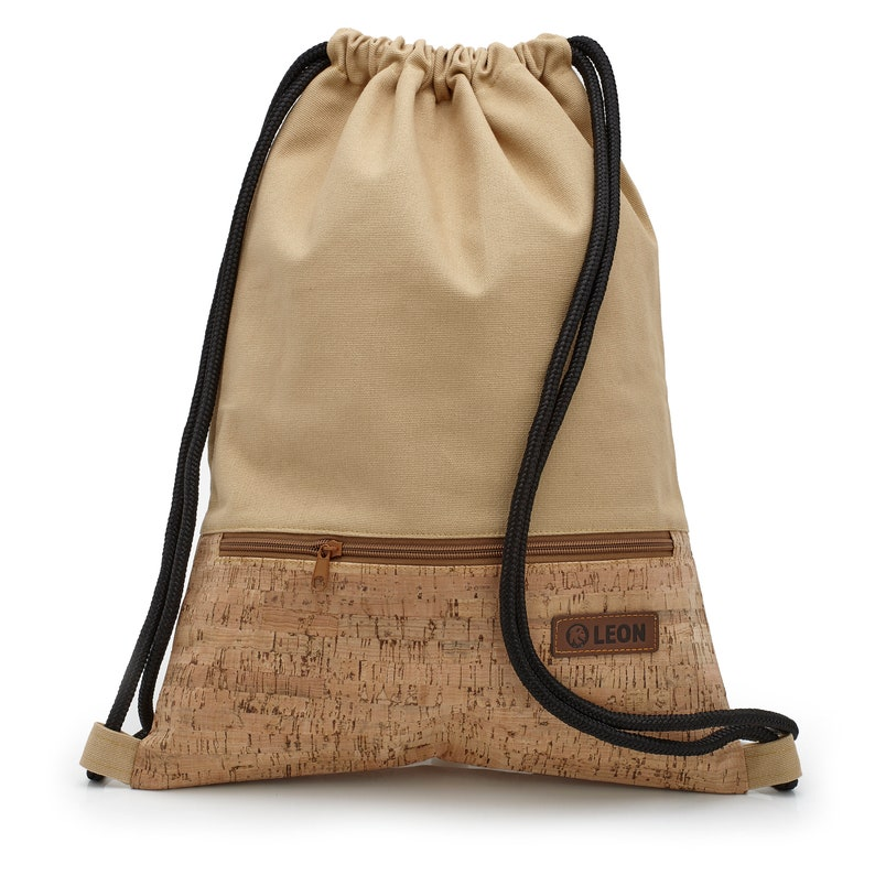 LEON by Bers bag gym bag backpack sports bag cotton cork coating gym bag width about 34 cm height about 45 cm outside zipper