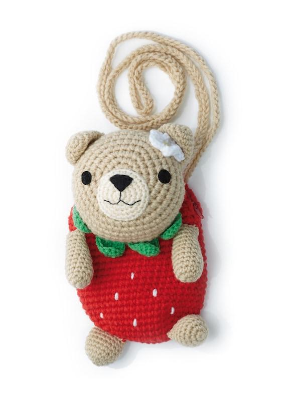 Children's Bag Crocheted Shoulder Bag Teddy Bear Strawberry Bag Kindergarten Earth Bear
