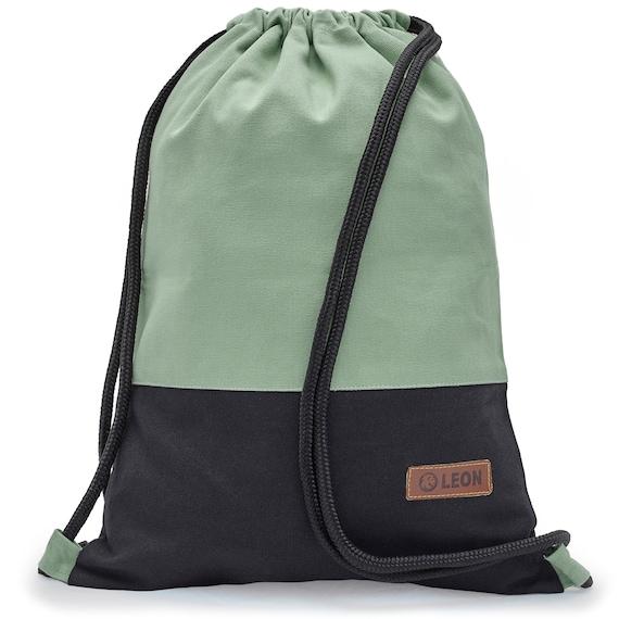 LEON by Bers Bag Gym Bag Backpack Cotton Sports Bag Gym Canvas Grey, Pink, Brown,Dark Blue Bottom Black