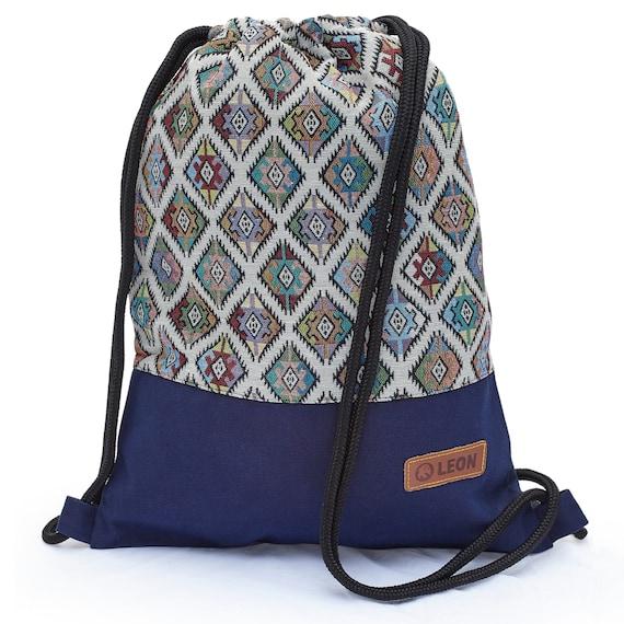 LEON by Bers Bag Gym Bag Backpack Sports Bag Cotton gym bag BOHOtBunteRauteBlue