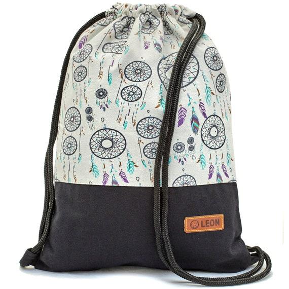 LEON by Bers bag gym bag backpack sports bag cotton gym bag , design whitedream catcher black fabric