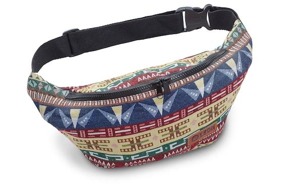 Leon Belt Bag Belly Bag Hip Bag 100% Cotton Fanny pack Hip Bag Shoulder Bag Bumbag - BirdBlueRedYellow Design