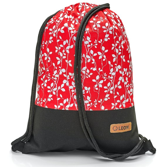 LEON by Bers bag gym bag backpack sports bag cotton gym bag width 34 cm height 45 cm, fabric white tendrils on red, black. Fabricfloor