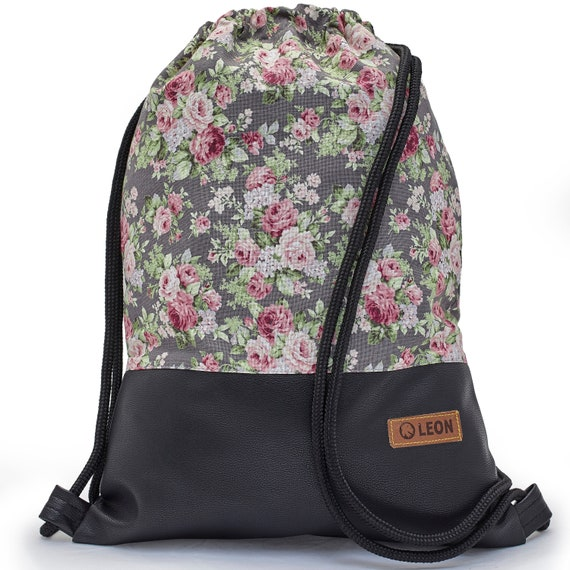 LEON by Bers bag gym bag backpack sports bag cotton gym bag width 34 cm height 45 cm, fabric rose grey, black faux leather bottom