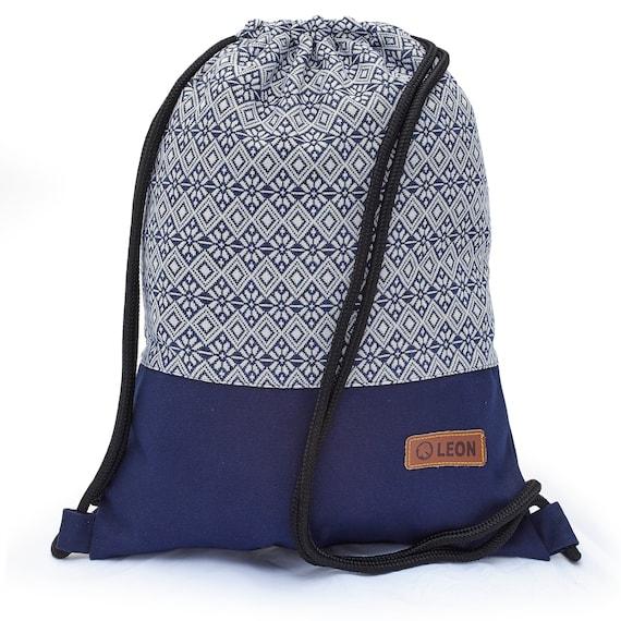 LEON by Bers Bag Gym Bag Backpack Sports Bag Cotton gym bag BOHOtBlueWeissRauteBlume