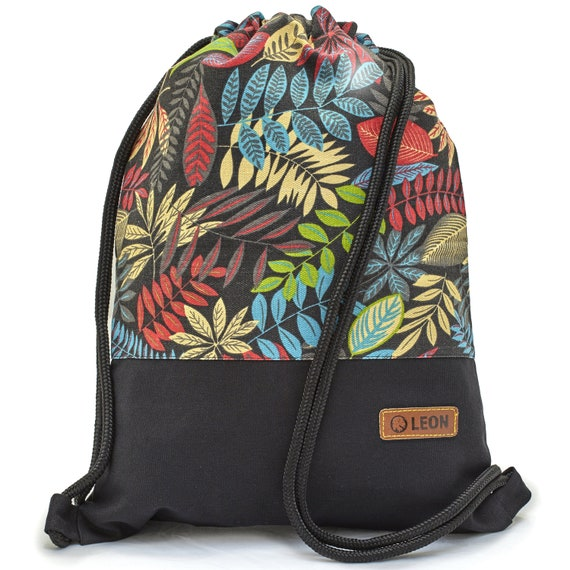 LEON by Bers bag gym bag backpack sports bag cotton gym bag width 34 cm height 45 cm, fabric ferns colorful, black fabric floor
