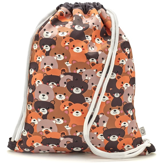 LEON by Bers Kindergarten Bag Gym Bag Backpack Kids Sports Bag Cotton gym bag Fabric Bag, Design KindBär_Braun
