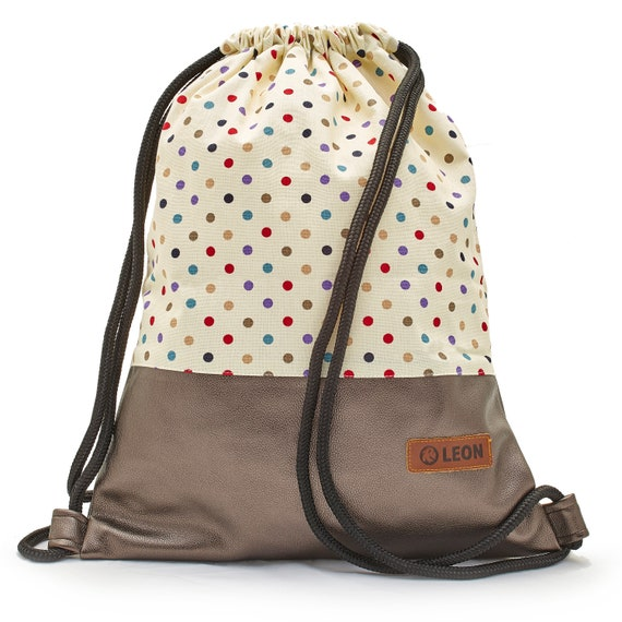 LEON by Bers bag gym bag backpack sports bag cotton gym bag width approx.34 cm height approx.45 cm, colorful dots on beige, copper bottom