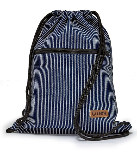 LEON by Bers bag gym bag backpack sports bag cotton gym bag width approx.34 cm height approx.45 cm, outside zipper bag