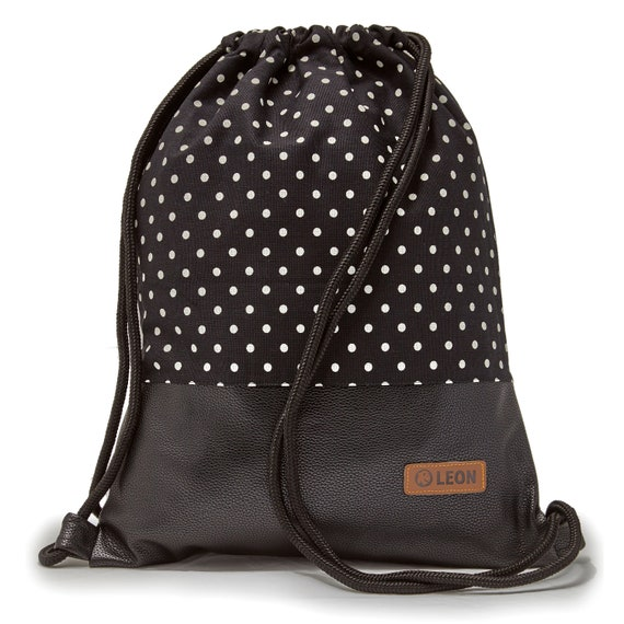 LEON by Bers Bag Gym bag Backpack Sports bag Cotton gym bag Width approx.34 cm Height approx.45 cm, Design White dots on black